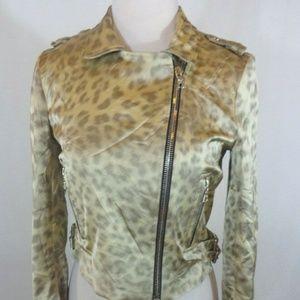 Alexis Designer Animal Print Zipper Jacket Medium